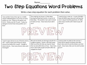 Two Step Word Problems Worksheet New Two Step Equation Word Problems Worksheet by Hunka Learnin