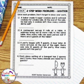 Two Step Word Problems Worksheet Unique 2 Step Word Problems Worksheet Bundle by Teacher Gameroom