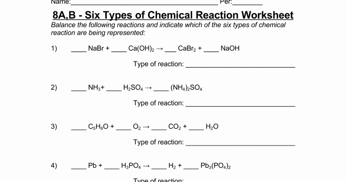 Types Of Chemical Reactions Worksheet Elegant 8a B Six Types Of Chemical Reaction Worksheet Google