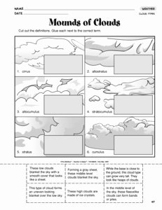 Types Of Clouds Worksheet Fresh 12 Best Of Clouds Worksheets for Kindergarten