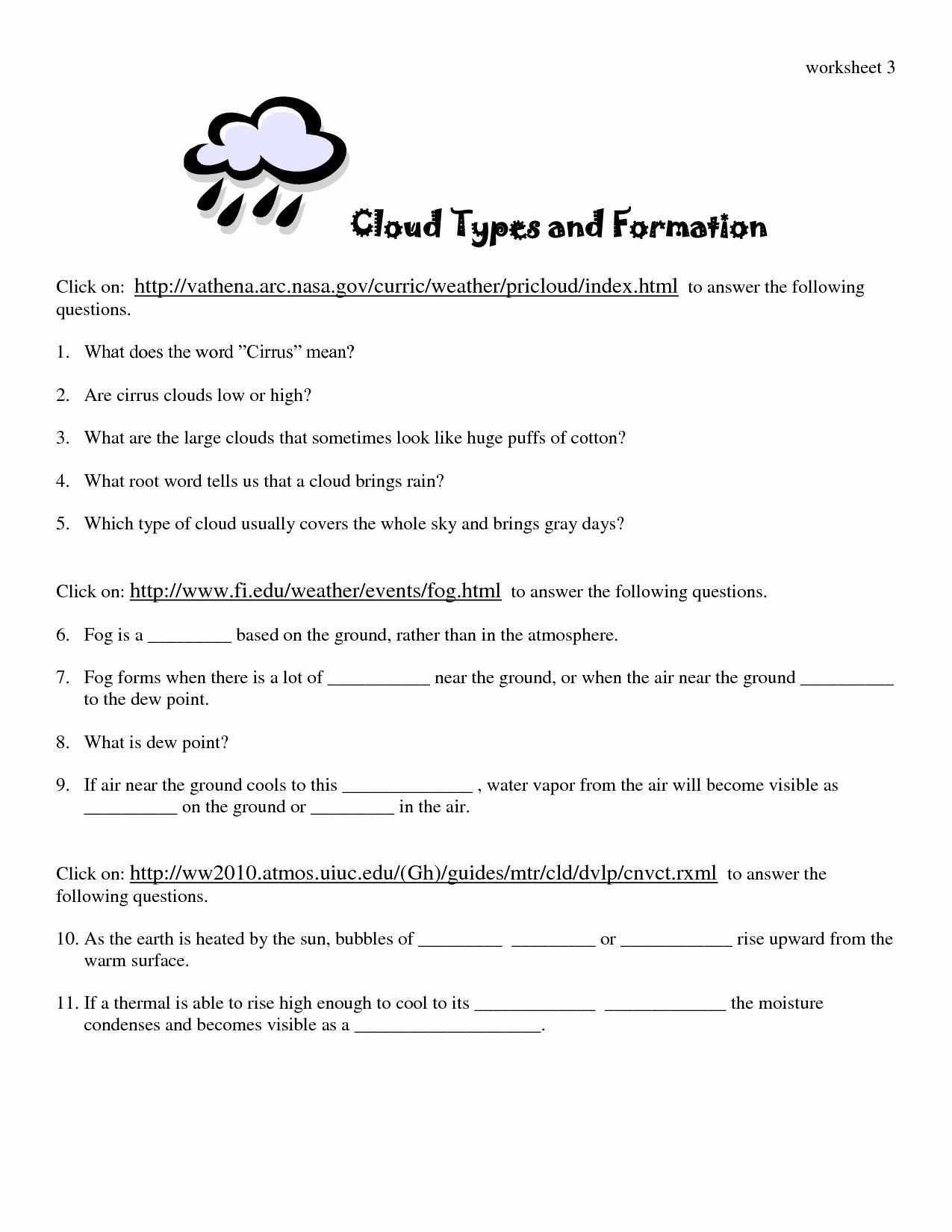 Types Of Clouds Worksheet Fresh 15 Best Of Types Precipitation Worksheet