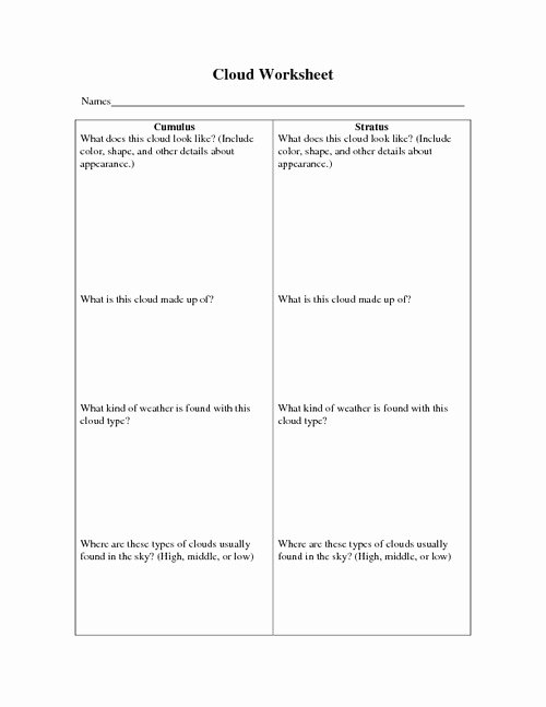 Types Of Clouds Worksheet Lovely 12 Best Of Types Clouds Worksheets Printable