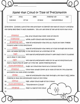 Types Of Clouds Worksheet Lovely Weather Freebie Name that Cloud or Precipitation 2 Pg