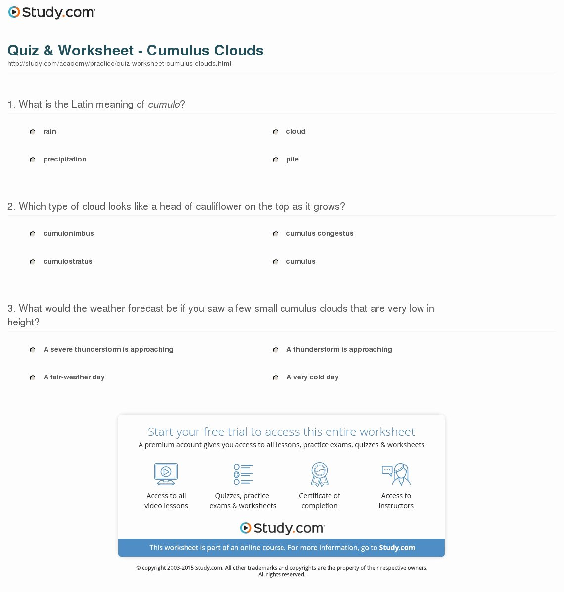 Types Of Clouds Worksheet Unique Quiz & Worksheet Cumulus Clouds