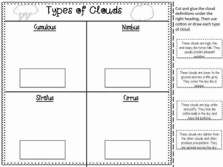 Types Of Clouds Worksheet Unique Types Clouds Worksheet