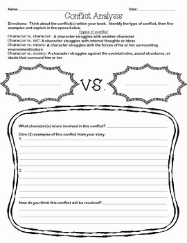Types Of Conflict Worksheet Luxury Conflict Analysis Worksheet Clearly Stated Character