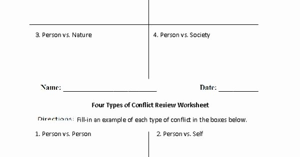 Types Of Conflict Worksheet Luxury Four Types Of Conflict Review Worksheet