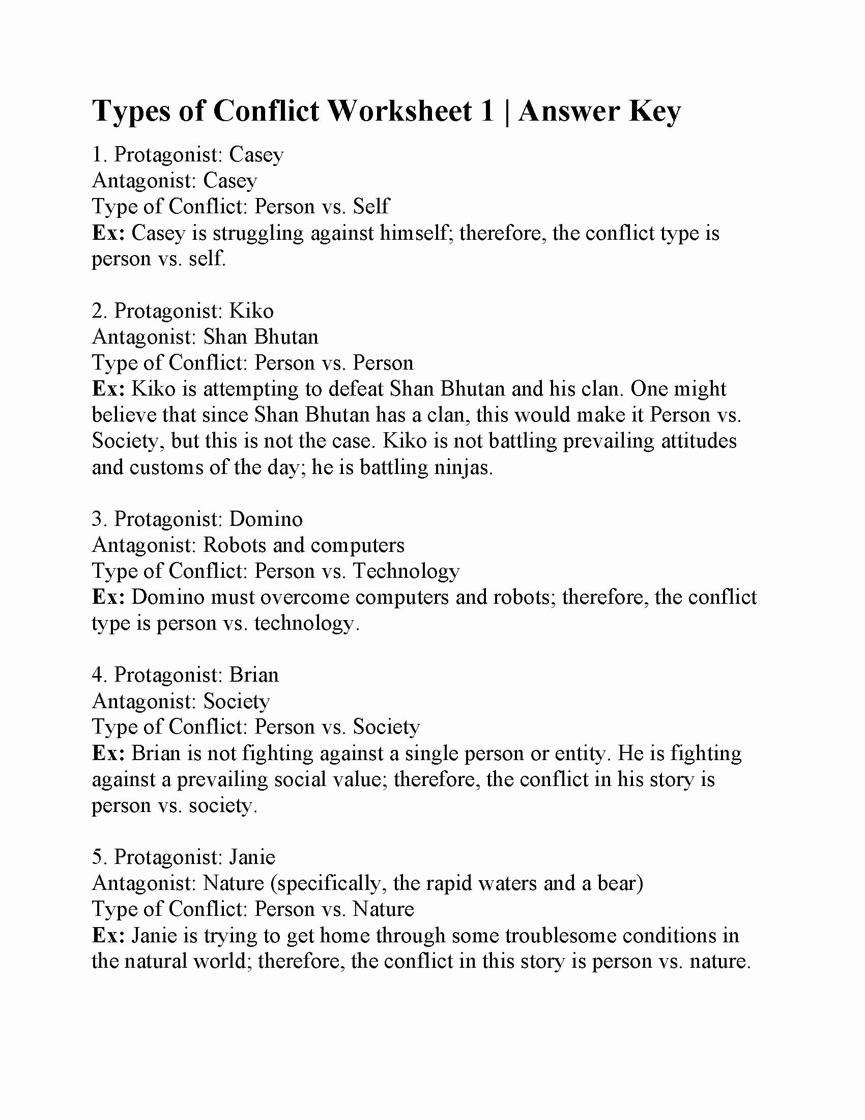 Types Of Conflict Worksheet Luxury Man Vs society Definition