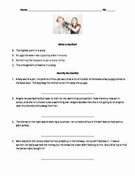Types Of Conflict Worksheet New Conflicts In Literature Practice Worksheet by Goldmonte