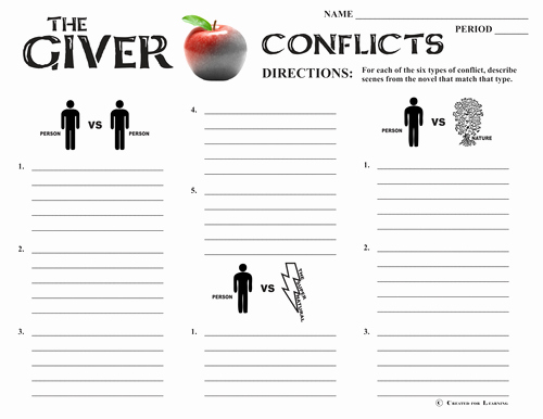 Types Of Conflict Worksheet Unique Giver Conflict Graphic organizer 6 Types Of Conflict by