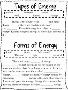 Types Of Energy Worksheet Beautiful forms Of Energy Notes Worksheets and Research Project M
