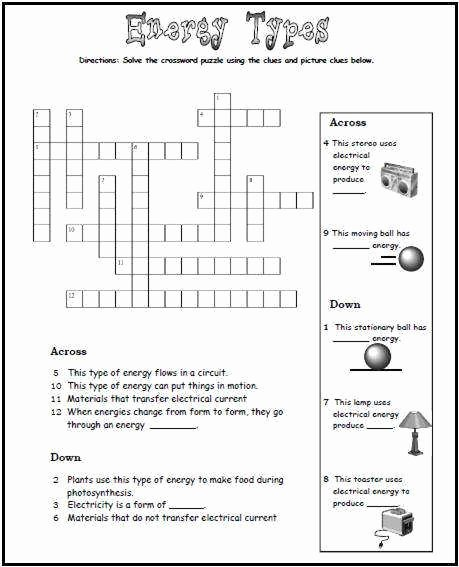 Types Of Energy Worksheet Beautiful Types Energy Worksheet