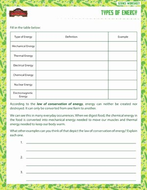 Types Of Energy Worksheet Best Of Types Of Energy – Printable 6th Grade Science Worksheet – sod