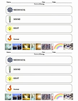 Types Of Energy Worksheet Lovely Matching forms Of Energy by Latienda