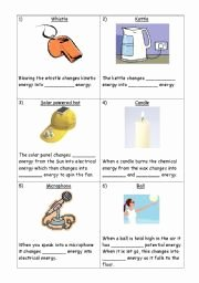 Types Of Energy Worksheet New Types Of Energy Printable Worksheets