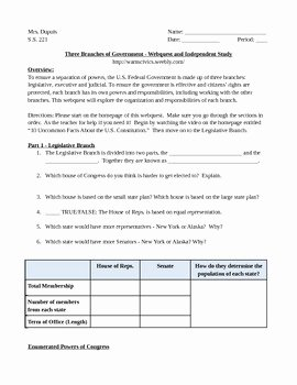 Types Of Government Worksheet Answers Beautiful Three Branches Of Government Webquest Independent