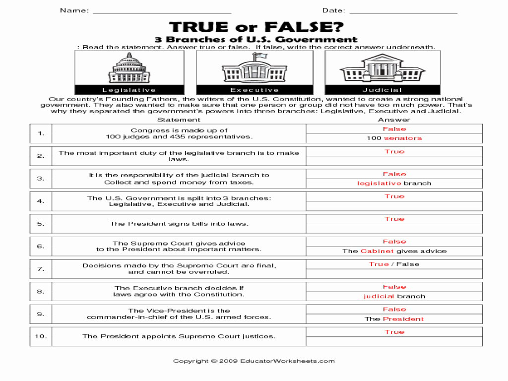 Types Of Government Worksheet Answers Elegant True or False 3 Branches Of U S Government Worksheet