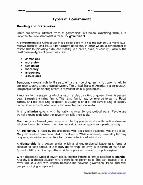 Types Of Government Worksheet Answers Elegant Types Of Government Worksheet for 3rd Grade