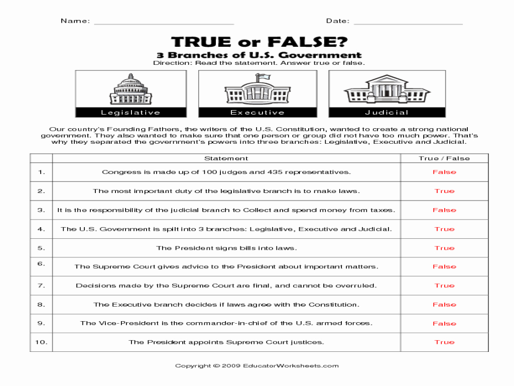 Types Of Government Worksheet Answers Inspirational 3 Branches Of the U S Government True or False