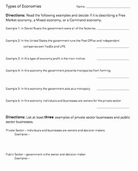 Types Of Government Worksheet Answers Inspirational the Wright La S Present the Types Of Economies & Private