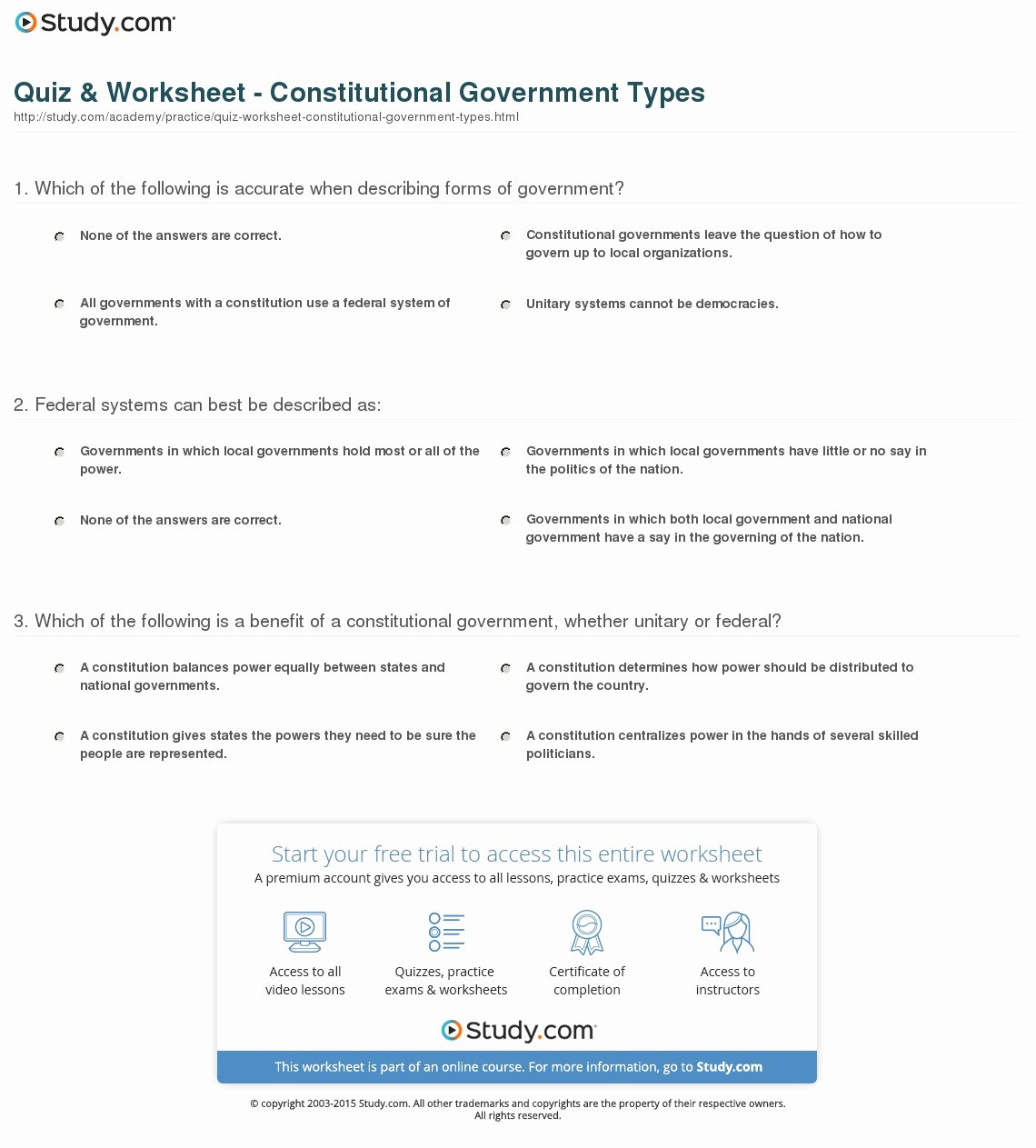 Types Of Government Worksheet Answers Luxury Quiz & Worksheet Constitutional Government Types