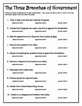 Types Of Government Worksheet Answers New Three Branches Of Government Worksheet by Heather