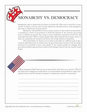 Types Of Government Worksheet Answers Unique Monarchy Vs Democracy School
