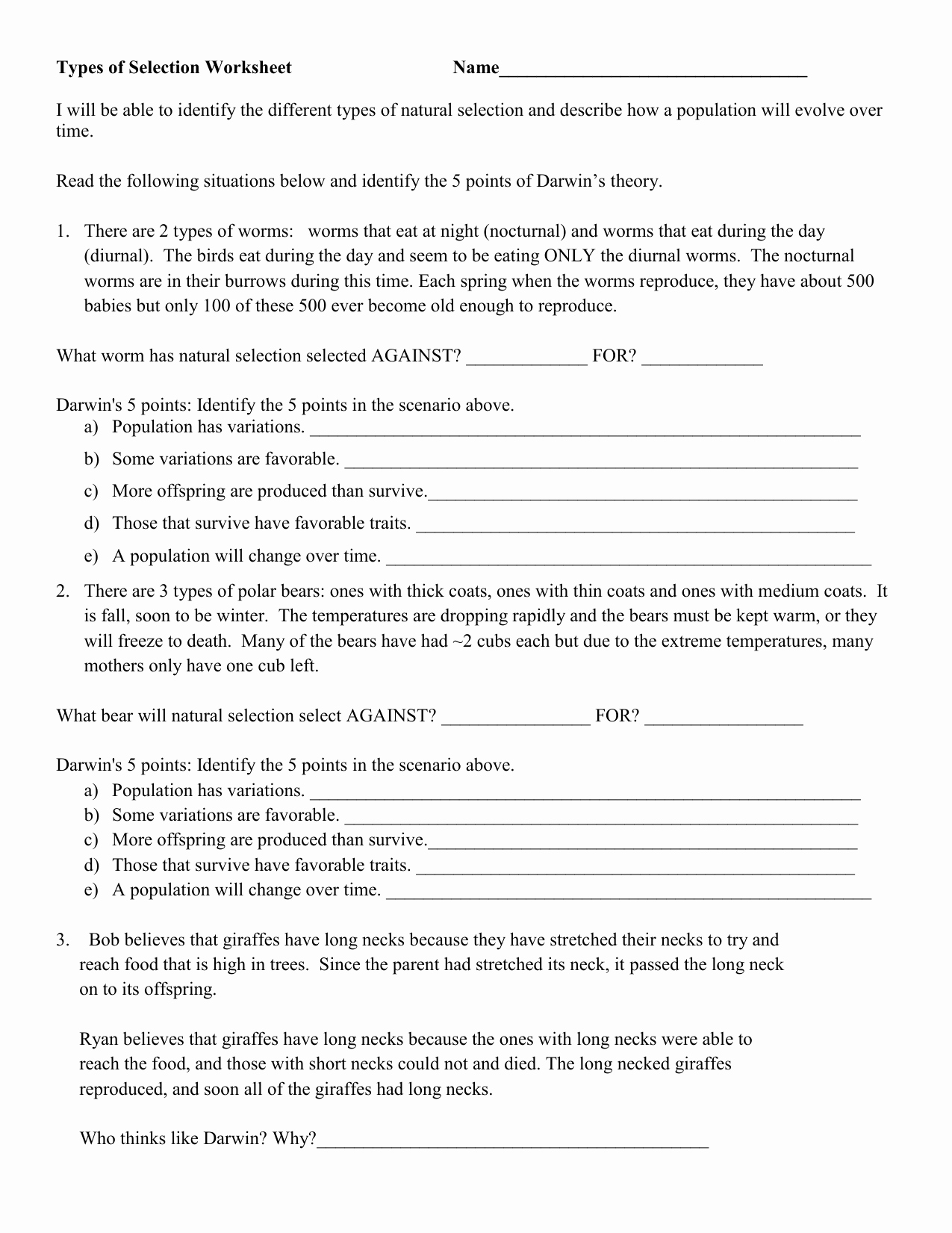 Types Of Natural Selection Worksheet Elegant Types Of Natural Selection Ws Jl 2018