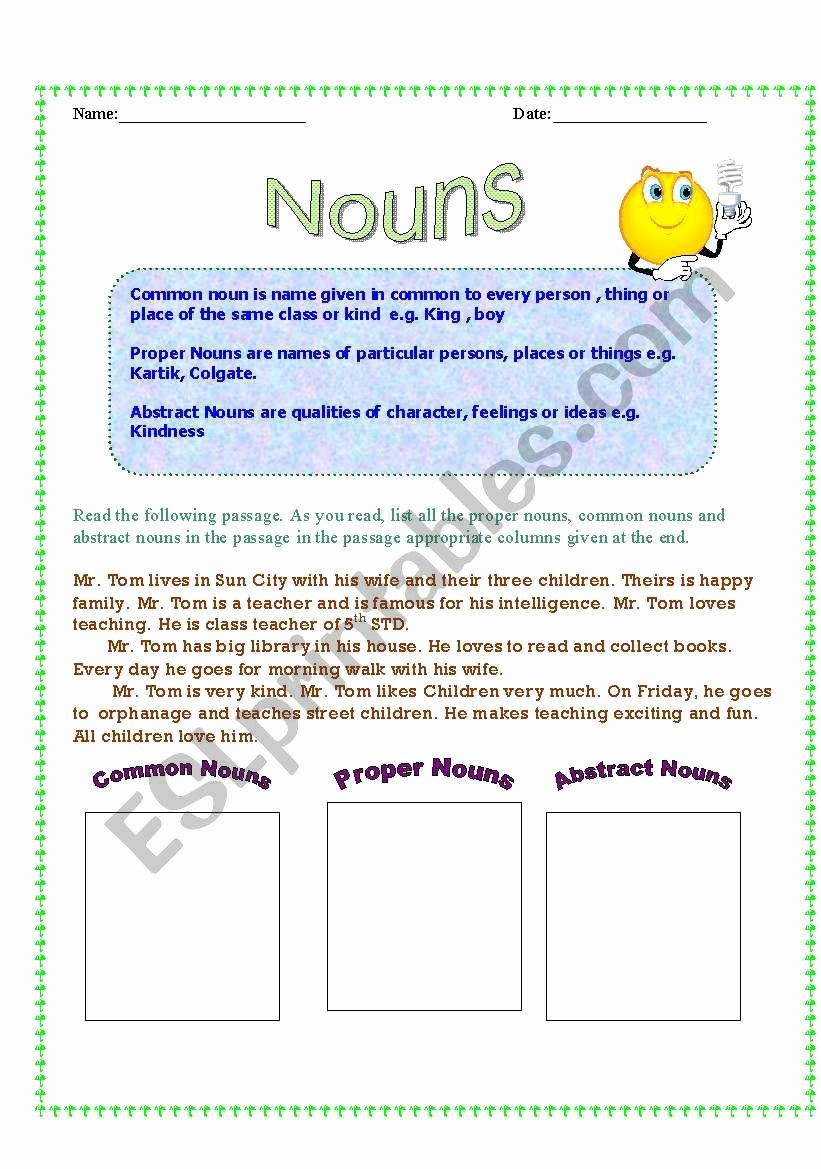 Types Of Nouns Worksheet Beautiful Types Nouns Esl Worksheet by Tanuja1809