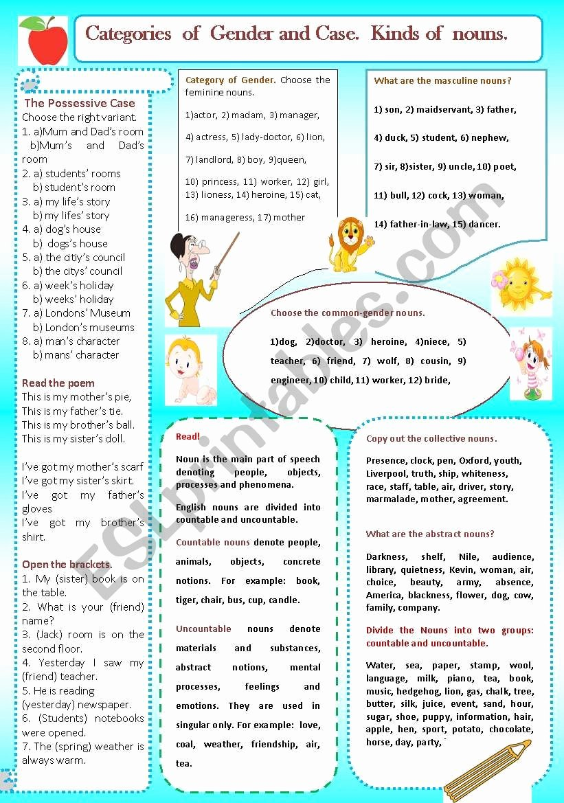 Types Of Nouns Worksheet Best Of Category Of Case and Gender Kinds Of Nouns Esl