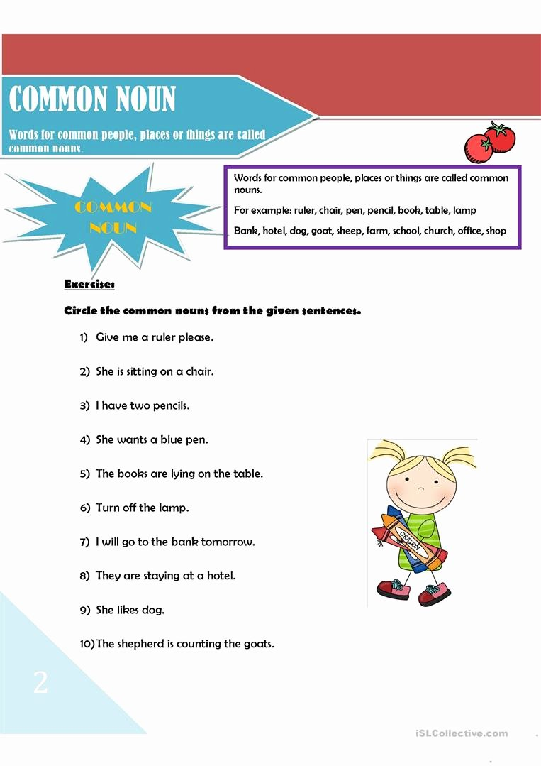 Types Of Nouns Worksheet Lovely Noun and Its Types Worksheet Free Esl Printable