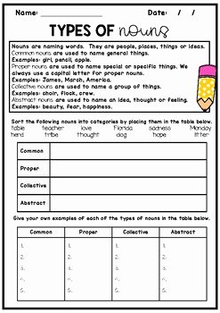Types Of Nouns Worksheet Luxury Nouns Worksheet with Answers Mon Proper Collective