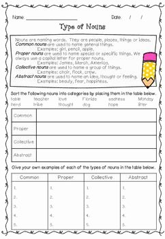 Types Of Nouns Worksheet Unique 1000 Ideas About Abstract Nouns On Pinterest
