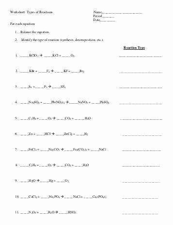 Types Of Reactions Worksheet Answers Best Of Types Chemical Reactions Worksheet Answers