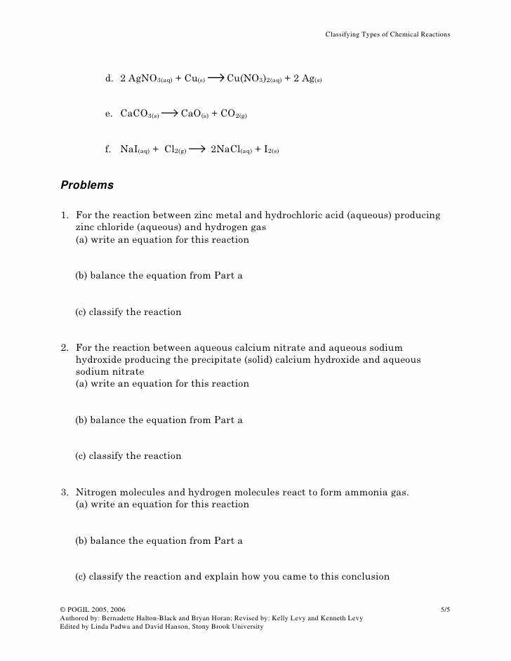 Types Of Reactions Worksheet Answers Elegant Types Chemical Reactions Worksheet Answers