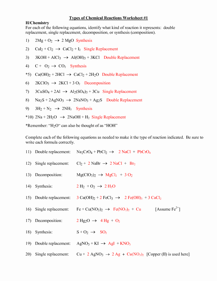 Types Of Reactions Worksheet Answers Fresh Six Types Chemical Reaction Worksheet Answers