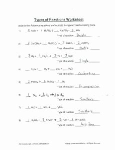 Types Of Reactions Worksheet Awesome Types Of Reactions Worksheet Mafiadoc