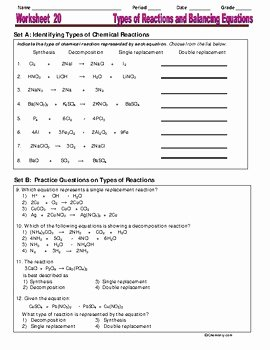 Types Of Reactions Worksheet Lovely Types Of Reactions & Balancing Equations Essential Skills