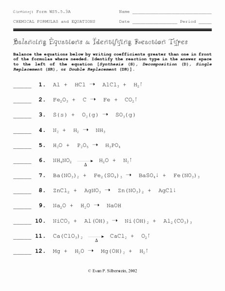 Types Of Reactions Worksheet Unique Balancing Equations and Identifying Reaction Types
