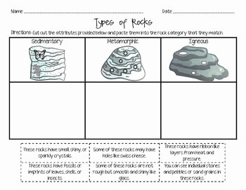 Types Of Rock Worksheet New Rock Types Cut & Paste attributes by Erin Dunkle