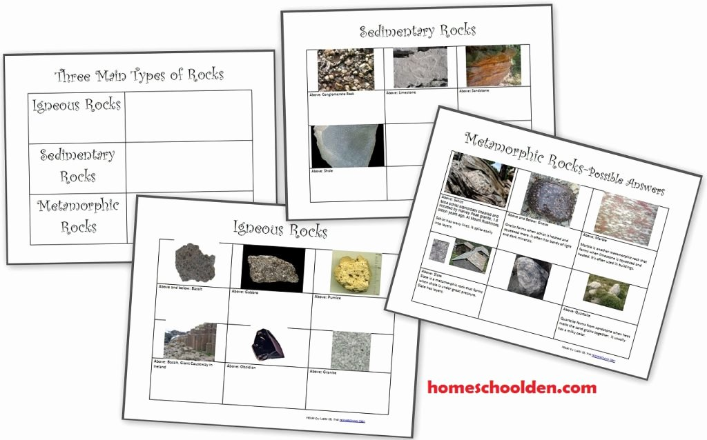 Types Of Rock Worksheet Unique Free Montessori 3 Part Cards Famous Rocks Around the