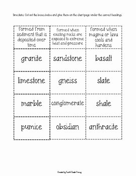 Types Of Rocks Worksheet Pdf Awesome Types Of Rocks sorting Activity Worksheet by Fourth Grade