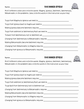 Types Of Rocks Worksheet Pdf Awesome Written Rock Cycle Worksheet Igneous Metamorphic