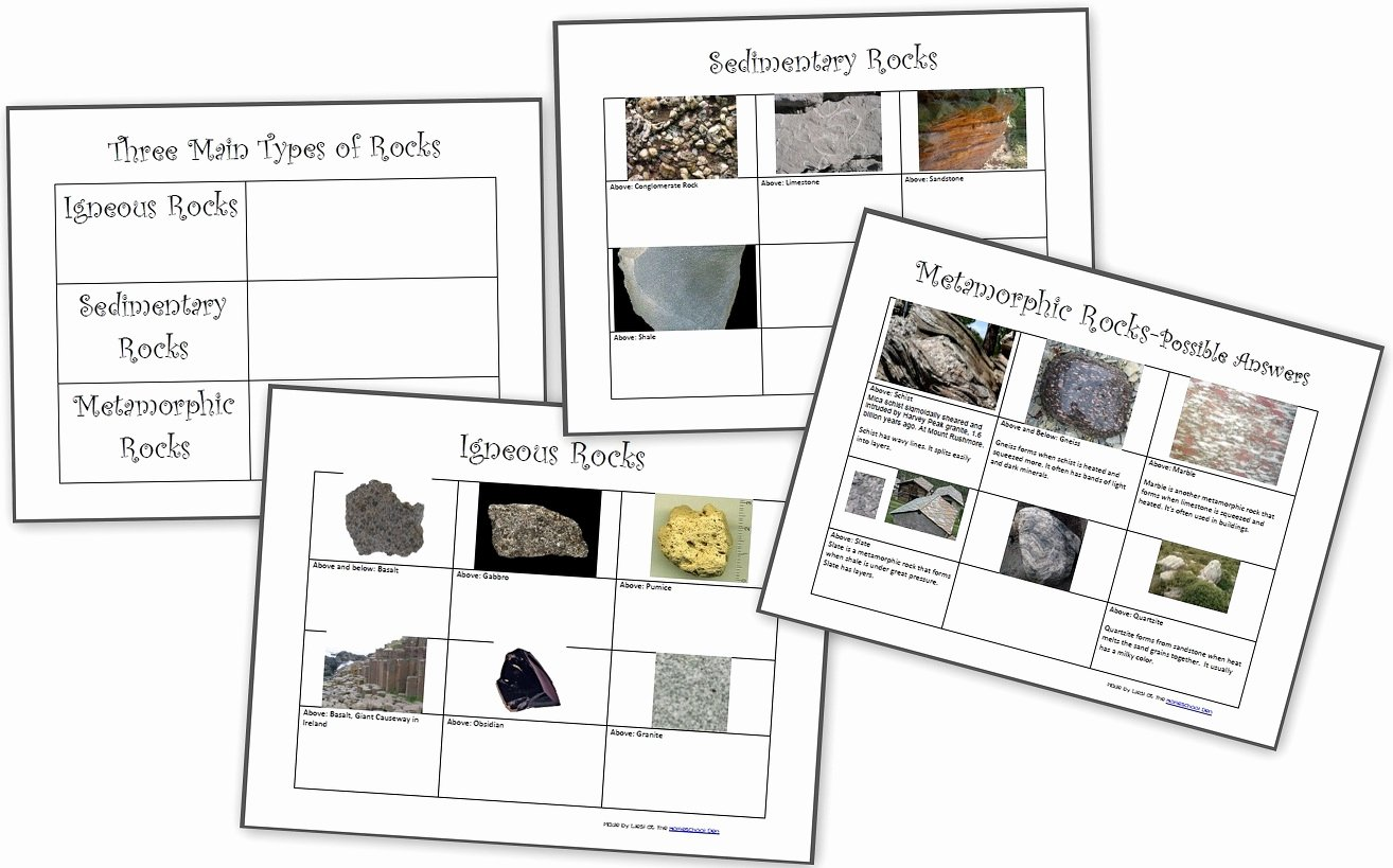 Types Of Rocks Worksheet Pdf Beautiful Free Rocks and Minerals Packet 25 Pages Homeschool Den