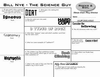 Types Of Rocks Worksheet Pdf Best Of Bill Nye Rocks & soil Ultimate Watch Along Worksheet