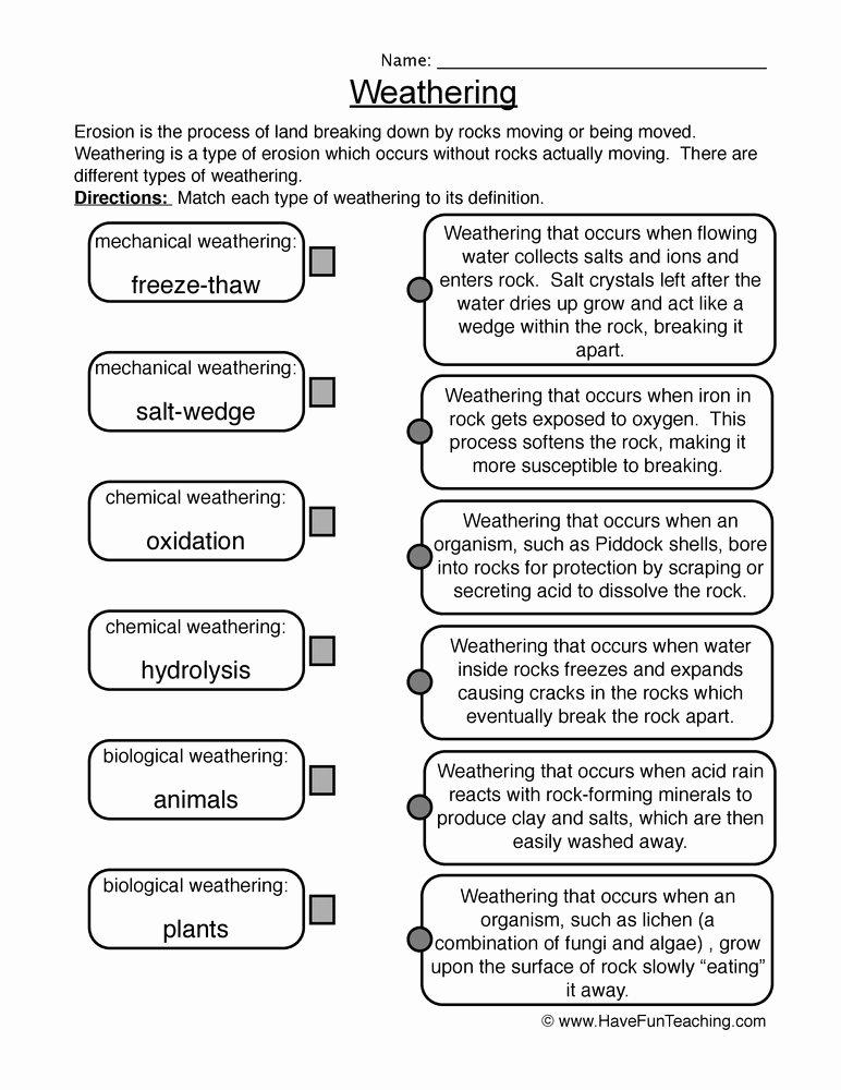 Types Of Rocks Worksheet Pdf Best Of Weathering and Erosion Worksheets
