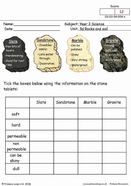 Types Of Rocks Worksheet Pdf Fresh Primaryleap Types Of Stone Worksheet