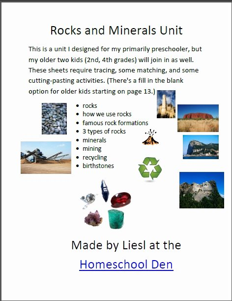 Types Of Rocks Worksheet Pdf Inspirational Free Rocks and Minerals Packet 25 Pages Homeschool Den