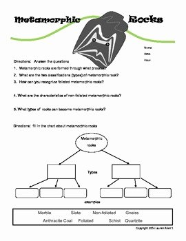 Types Of Rocks Worksheet Pdf New 6th Grade Metamorphic Rock Worksheet by Lauren Allen