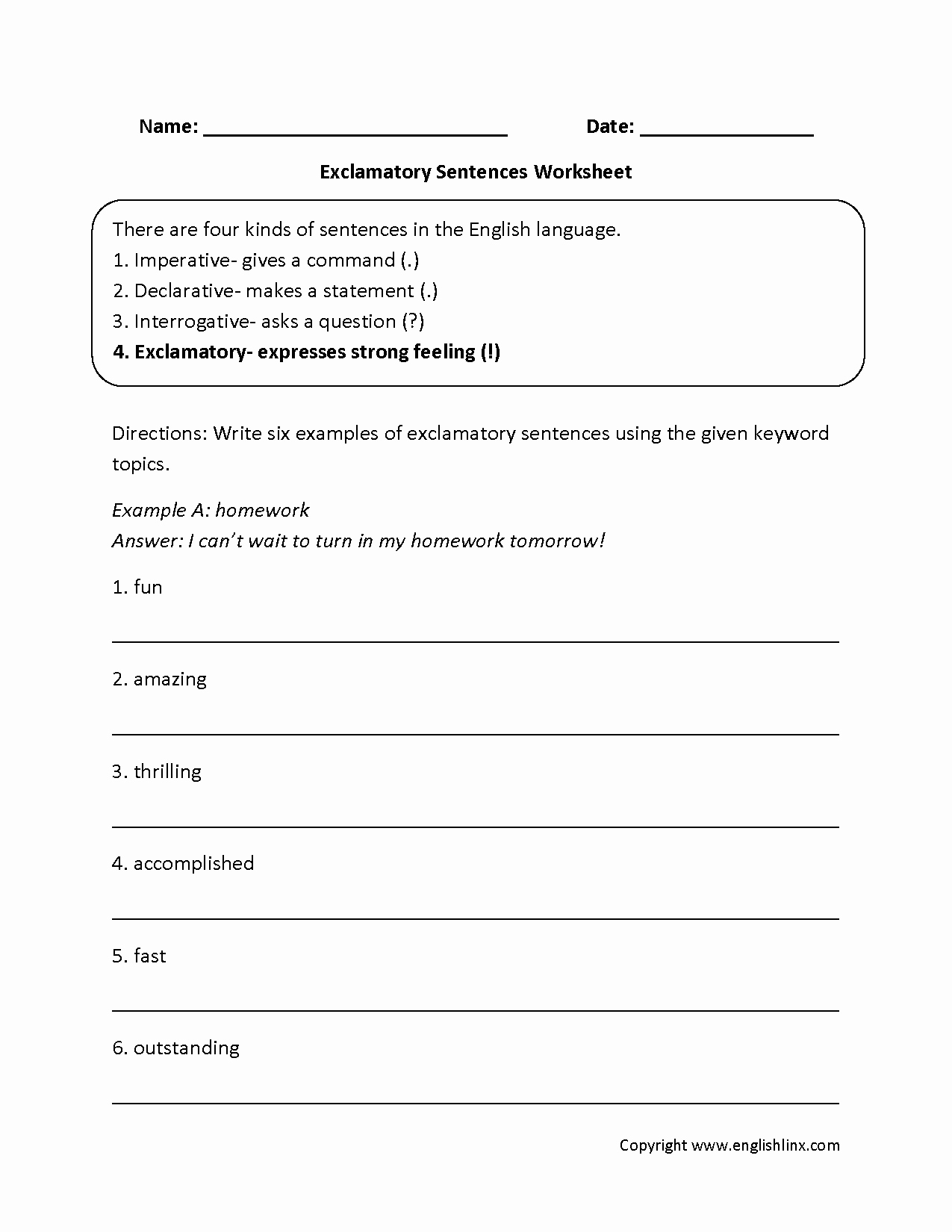 Types Of Sentences Worksheet Awesome Sentences Worksheets